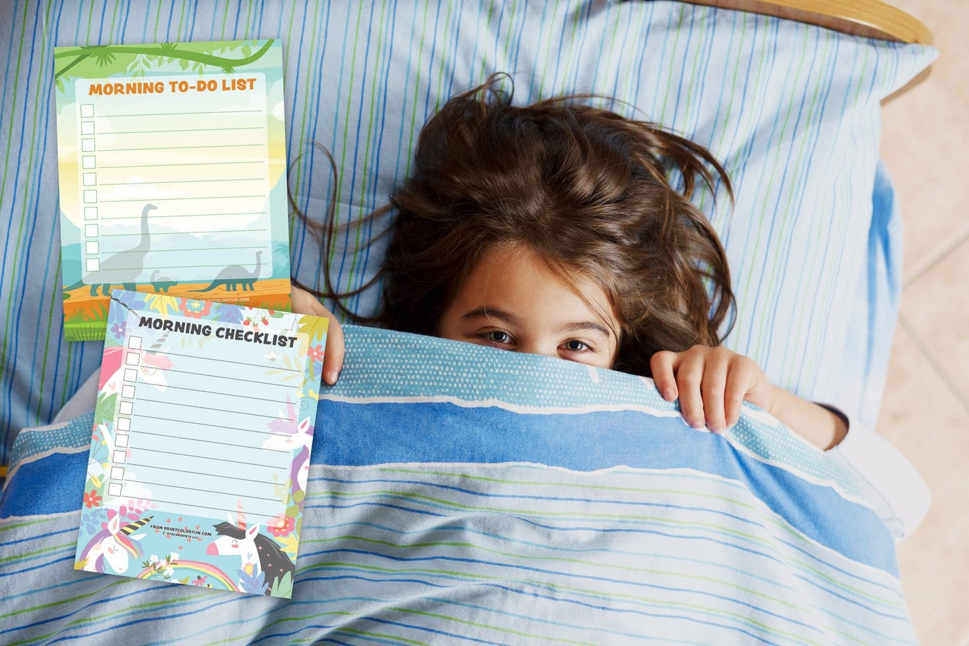 Great ways to wake up kids in a positive way and printable morning checklists