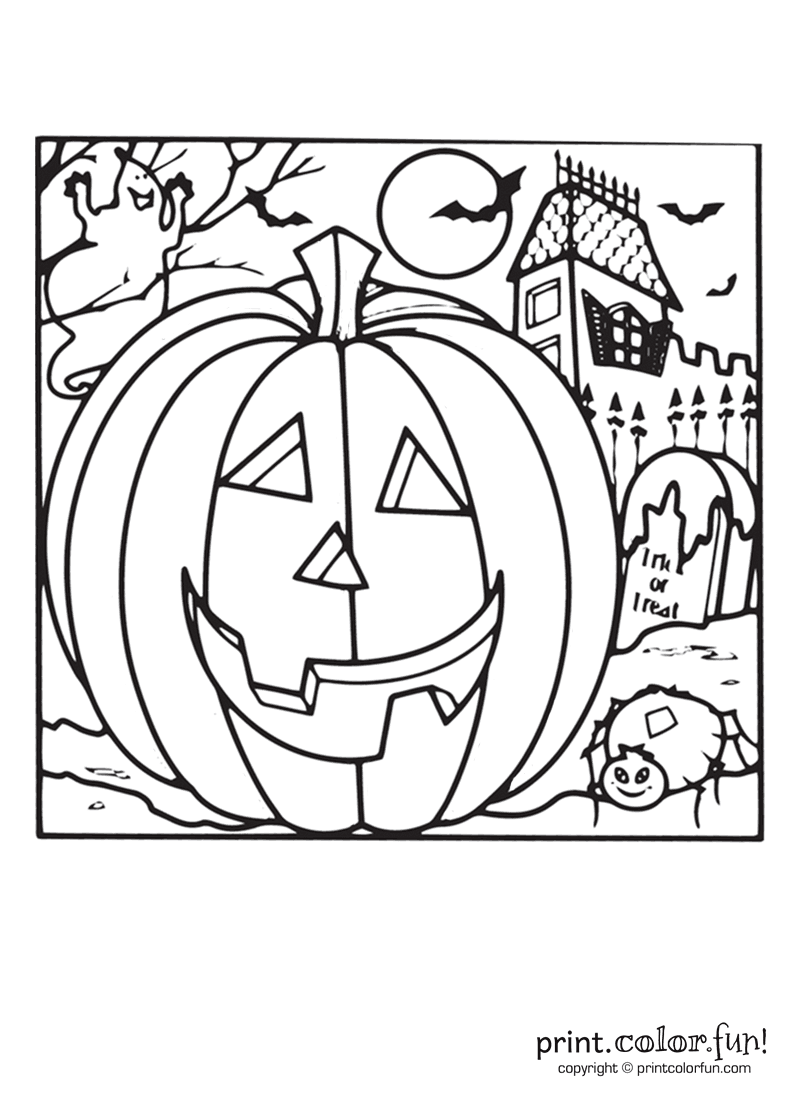 Halloween pumpkin and a haunted house coloring page ...