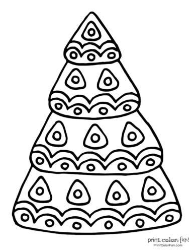 Hand-drawn Christmas tree coloring page