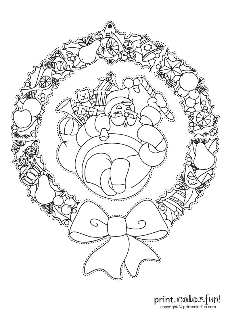 Hanging Christmas wreath with Santa