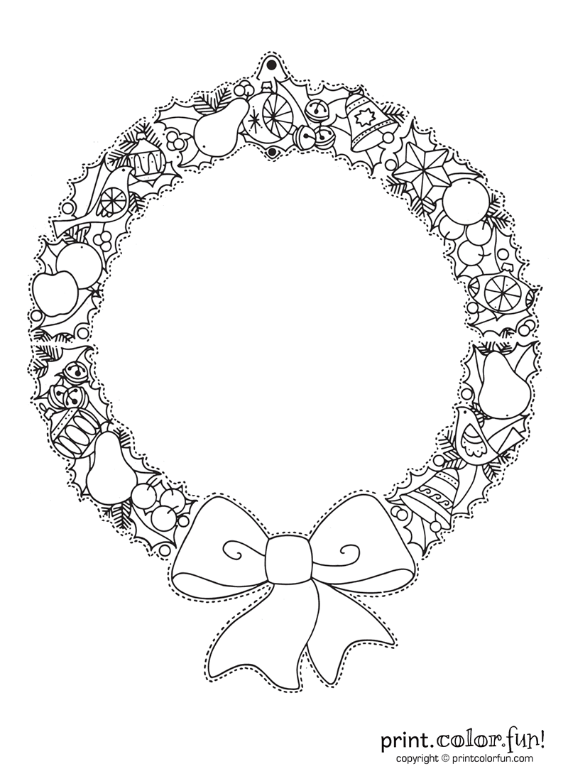 Christmas wreath to color and hang coloring page print for Christmas wreath coloring pages