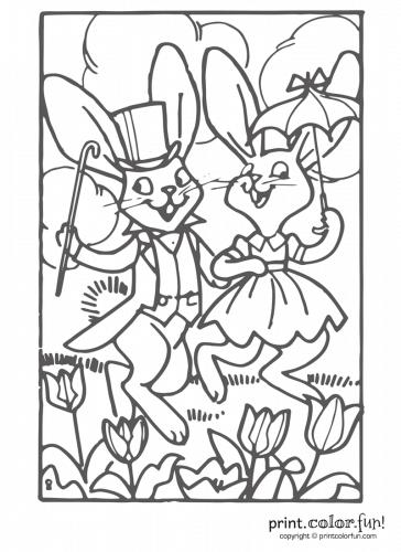 Happy-Easter-bunnies-walking-outside