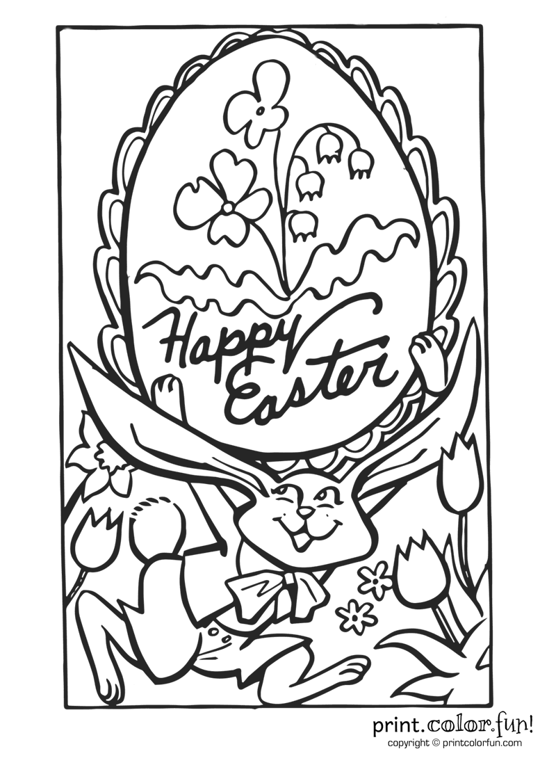 happybunny coloring pages | Happy Easter! coloring page - Print. Color. Fun!