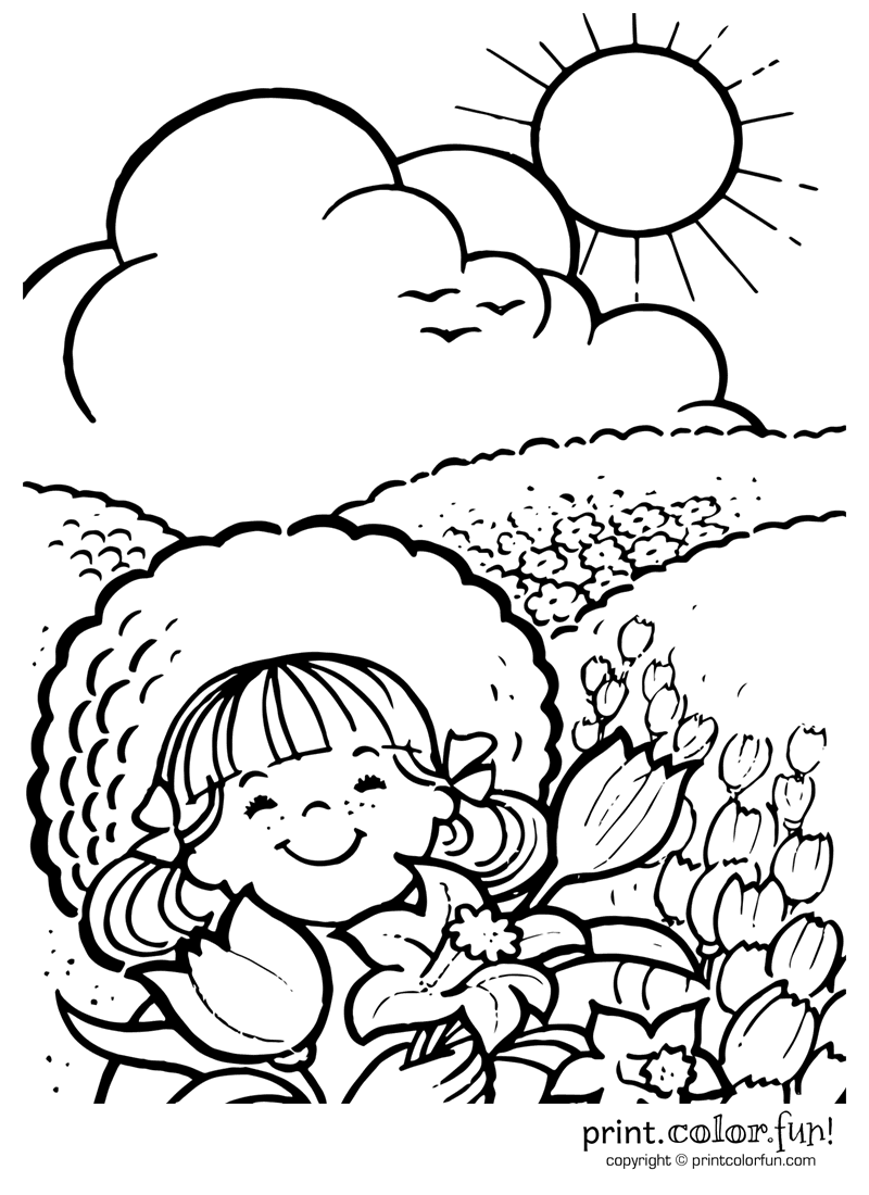 Line Drawing Sunny Day : Enjoying a sunny day coloring page print color fun