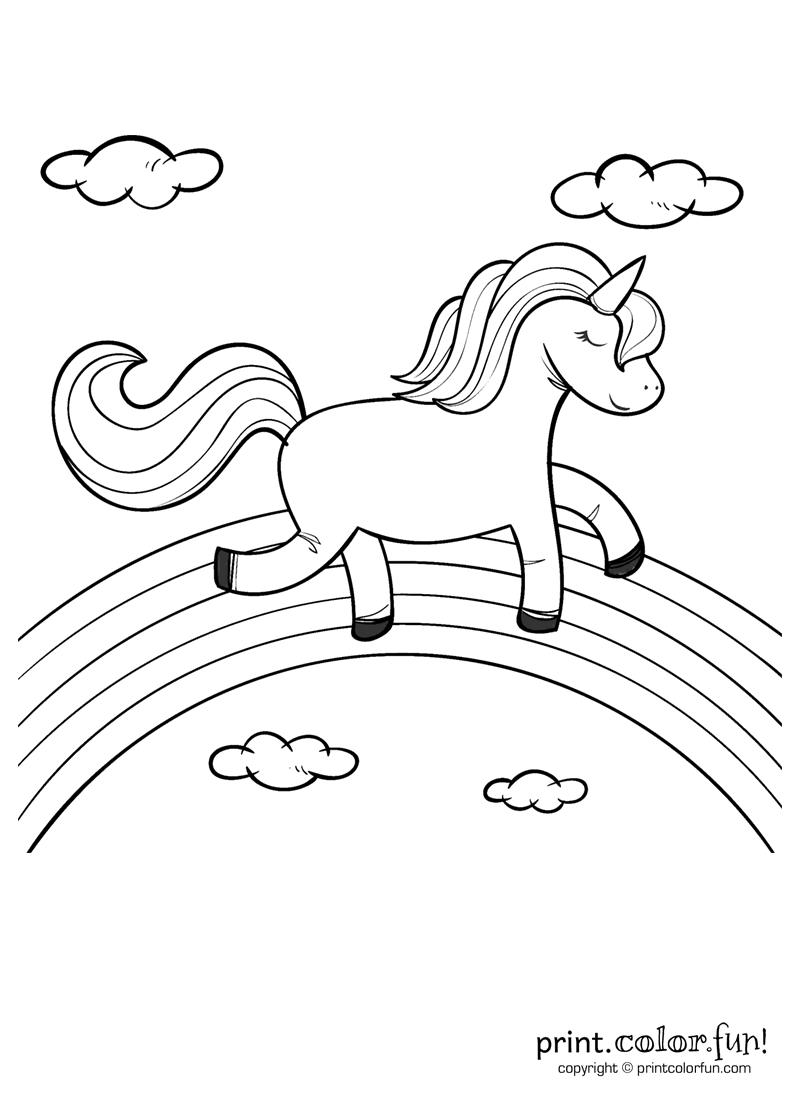 Happy unicorn over the rainbow coloring page - Print. Color. Fun!