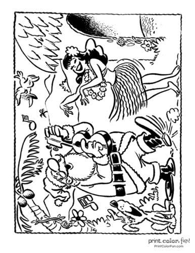 Hawaiian Christmas and Santa Claus coloring pages (1)