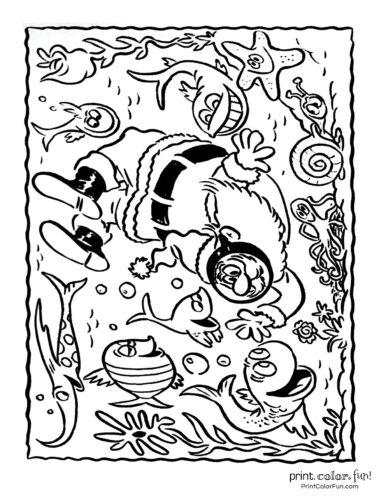 Hawaiian Christmas and Santa Claus coloring pages (3)