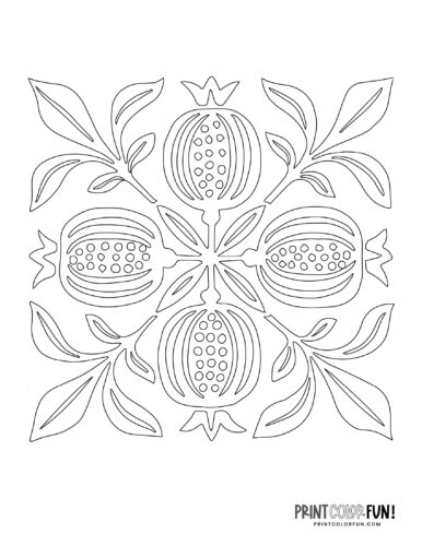 Free Hawaiian quilt patterns to applique or stencil - plant or fruit