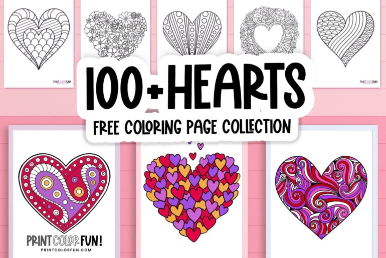 Heart coloring pages - Free printables