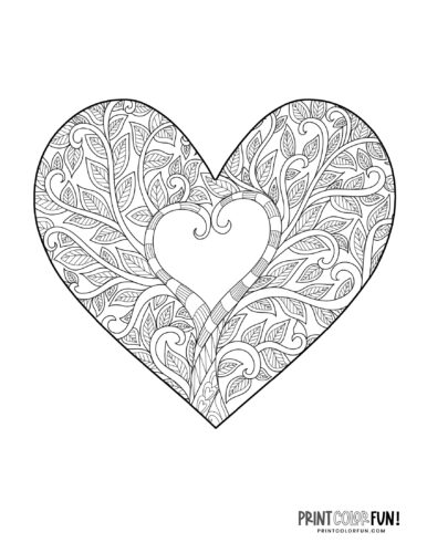 Heart design coloring - Tree shapes