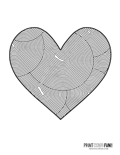 Heart design coloring page - Curved lines