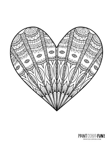 Heart design coloring page with intricate fan pattern