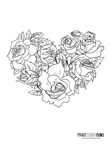 Heart design made of roses - Printable coloring page