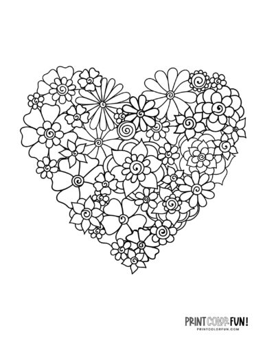 Heart made of flowers - Coloring page