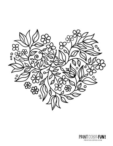 Heart shape made of flower and leaf designs