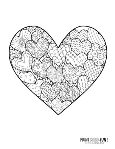 Hearts inside a heart printable coloring