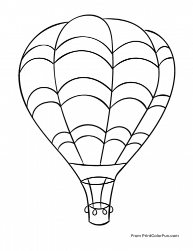 Huge Hot Air Balloon Flying In The Sky Coloring Page Print Color Fun