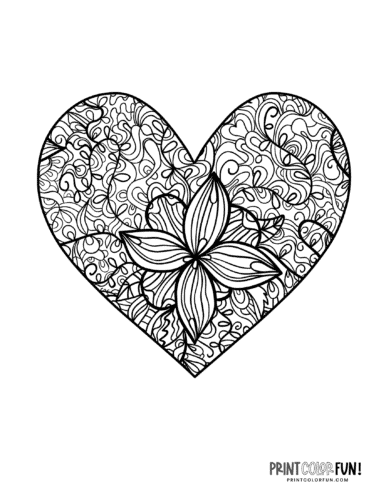 Intricate stylized flower pattern heart shape coloring page