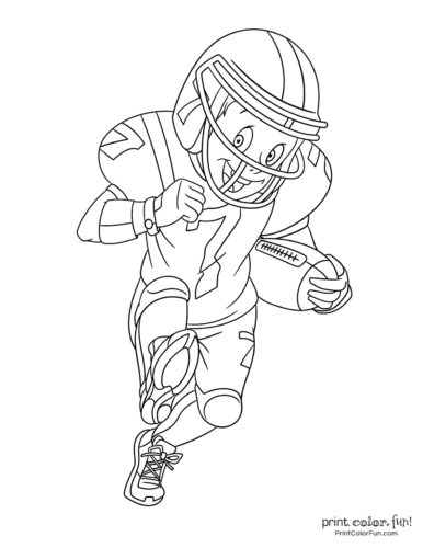 Kid playing football - Printable coloring pages