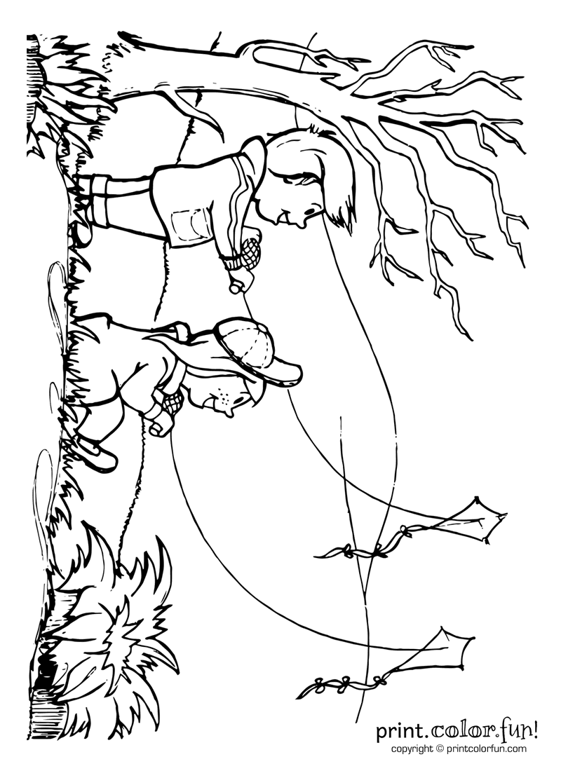 lets go fly a kite coloring page print color fun - Kite Coloring Page