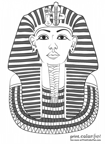 King Tutankhamun 39 s mask coloring page Print Color Fun