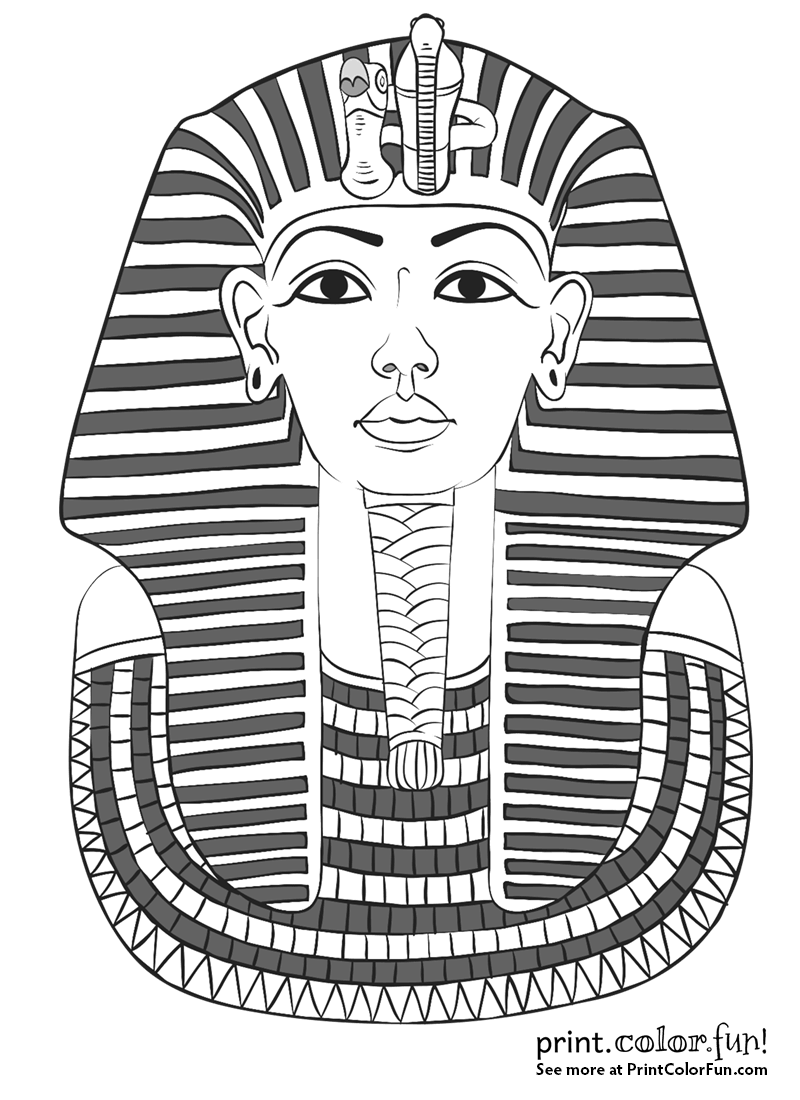 King tutankhamun 39 s mask coloring page print color fun for King tut mask template