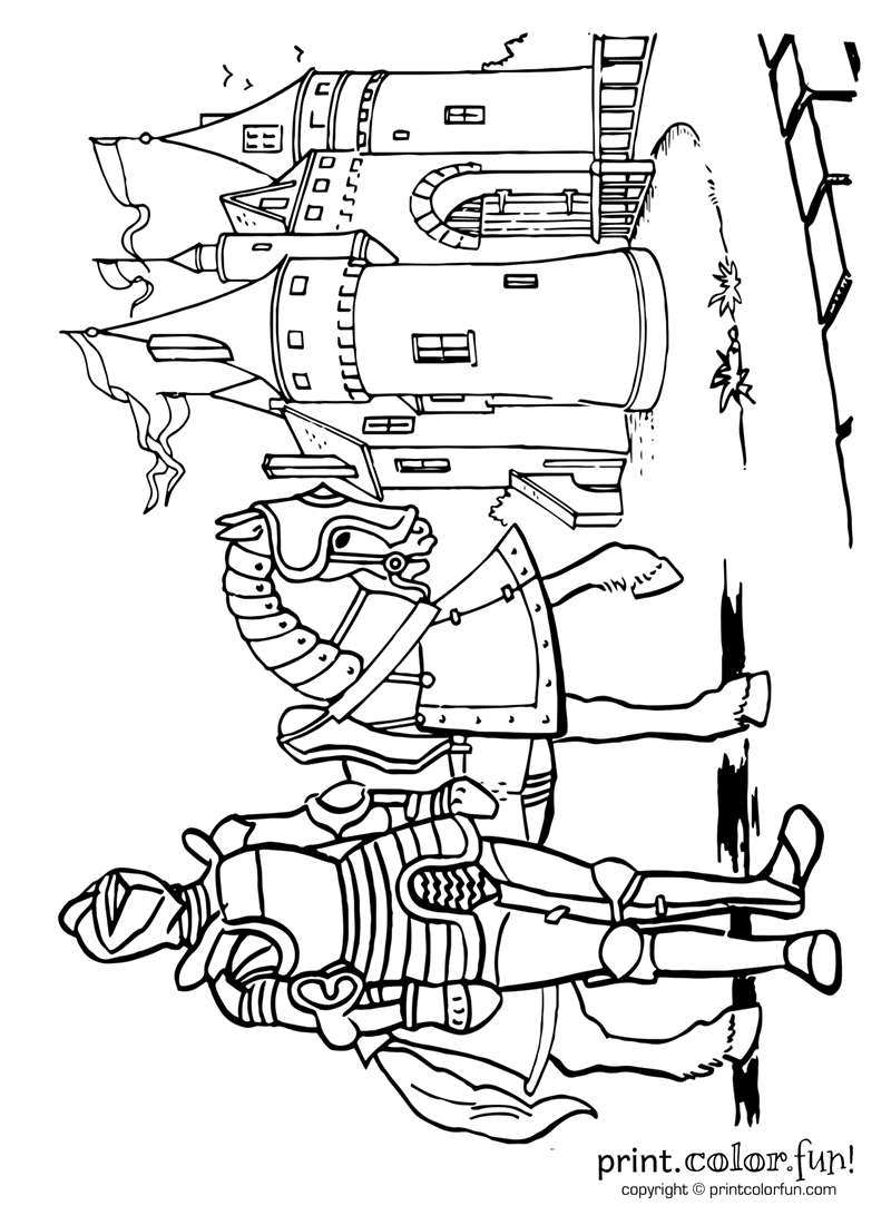 Knights castles and royalty coloring pages