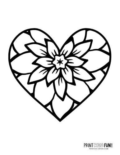 Large flower shape inside heart printable page