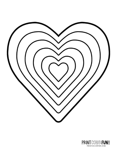 Layered retro rainbow heart coloring page