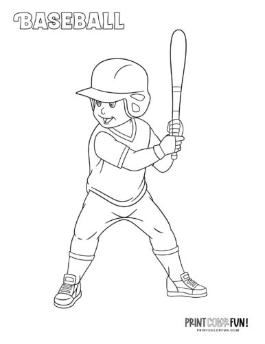 Little League baseball player coloring