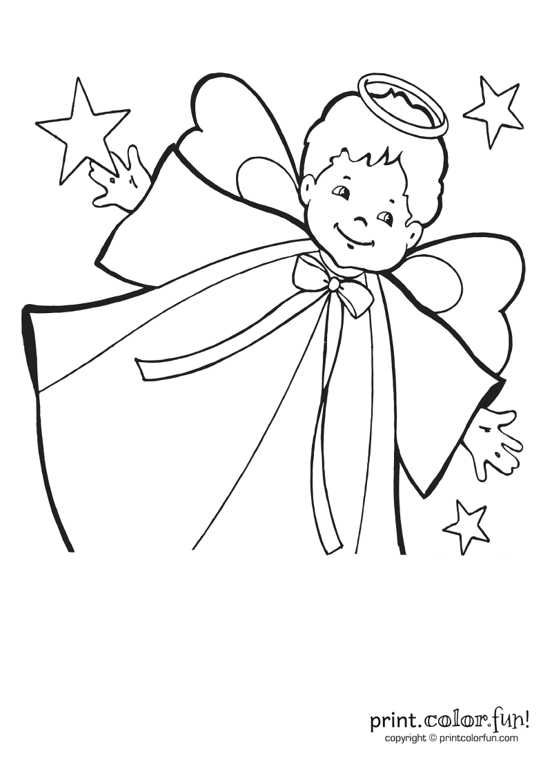 Little Boy Angel With Stars Coloring Page Print Color Fun