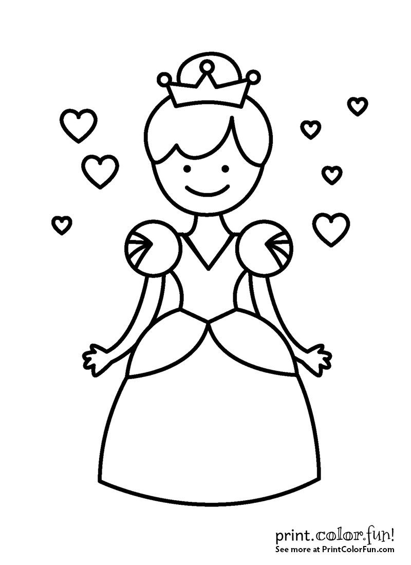 coloring pages princess crown - little princess or queen with a crown coloring page
