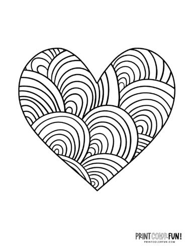 Loop zen doodle heart coloring page