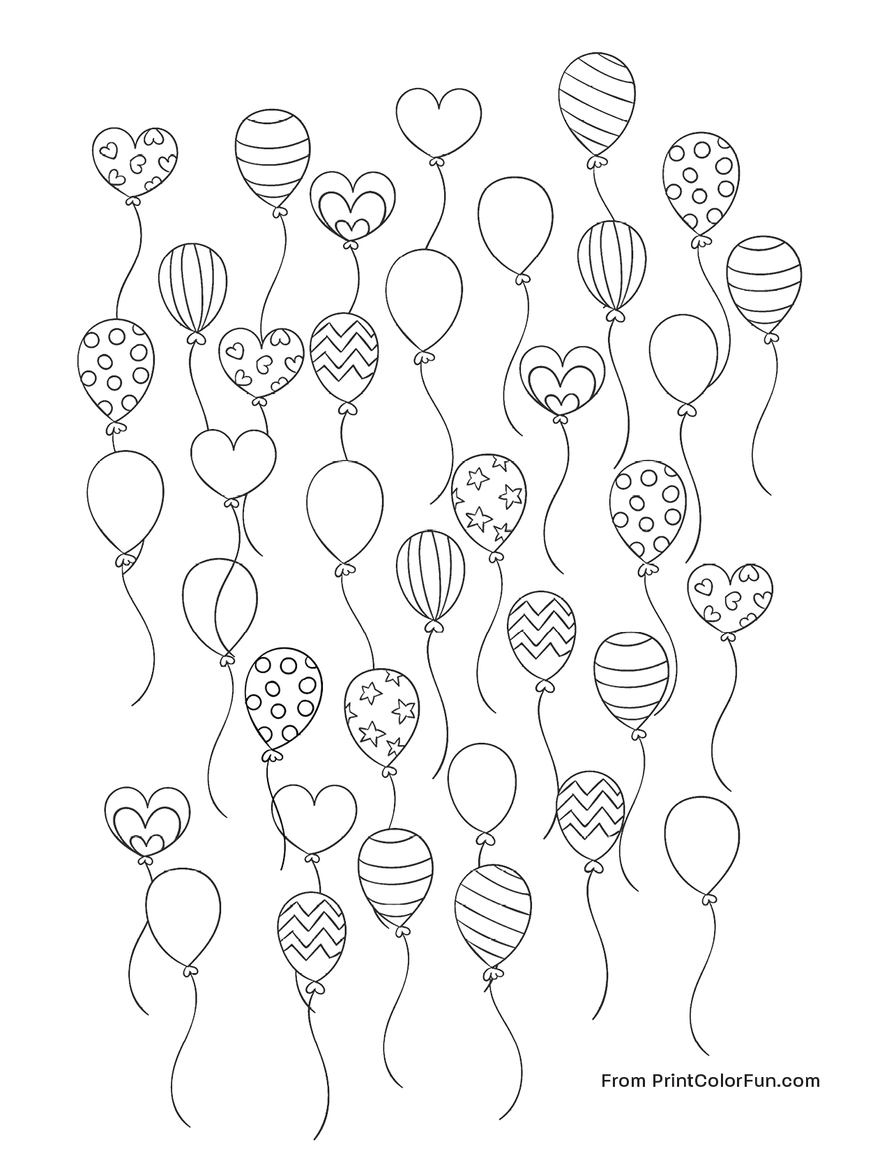Lots of party balloons coloring page - Print. Color. Fun!