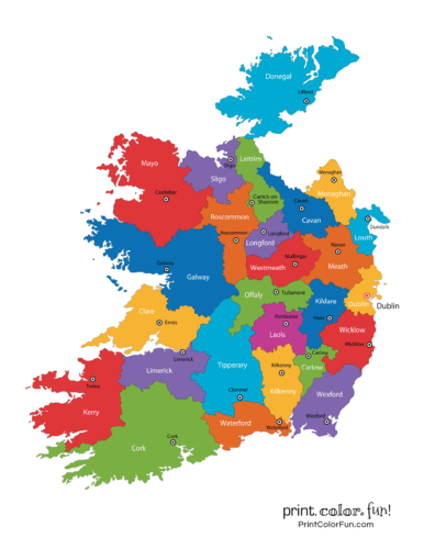 Map of Ireland - color