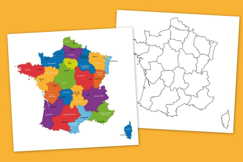 Maps of France to color