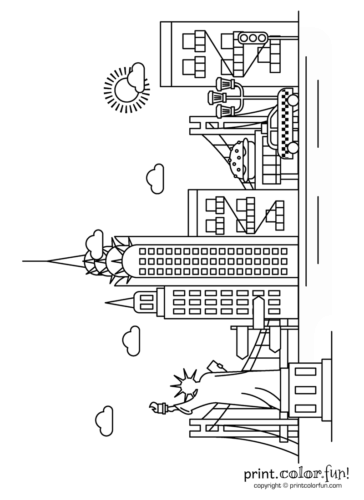 New York City Skyline Coloring Page Print Color Fun