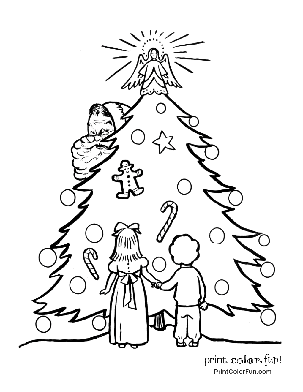 old fashioned halloween coloring pages | Retro Christmas tree with Santa coloring page - Print ...