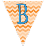 orange zig-zag party decoration flags with blue letters 2
