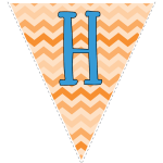 orange zig-zag party decoration flags with blue letters 8