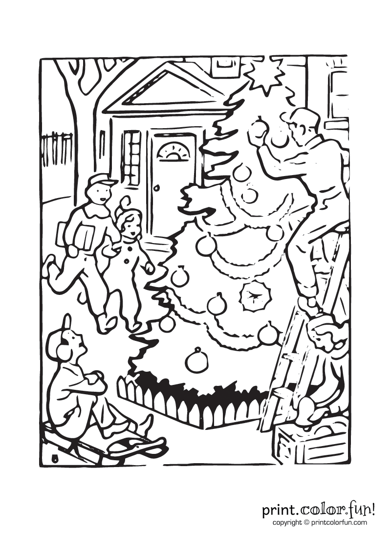 outdoor christmas tree coloring page print color fun