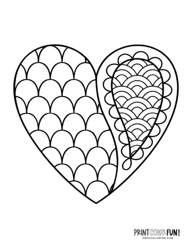Paisley pattern and scales on a heart shape to color