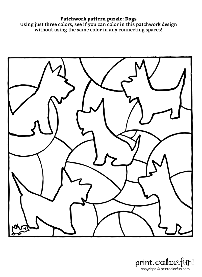 patchwork pattern puzzle dogs coloring page print color fun