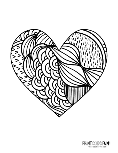 Patterned heart coloring page