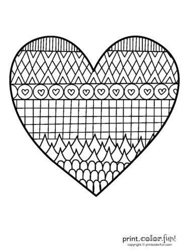 Patterned Heart Coloring Page Coloring Page Print Color