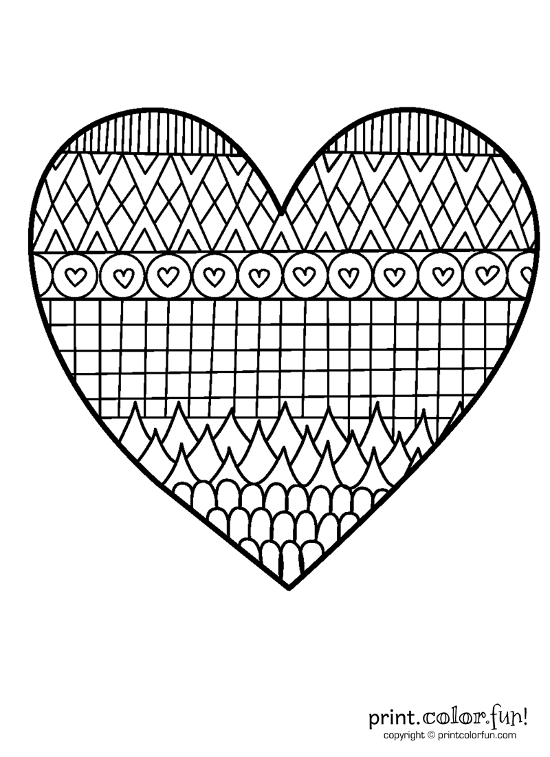 Love and Flowers Heart | Heart coloring pages, Valentine coloring ... | 1100x800
