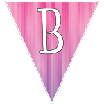 Pink-purple striped party decoration flags with white letters 2