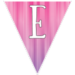 Pink-purple striped party decoration flags with white letters