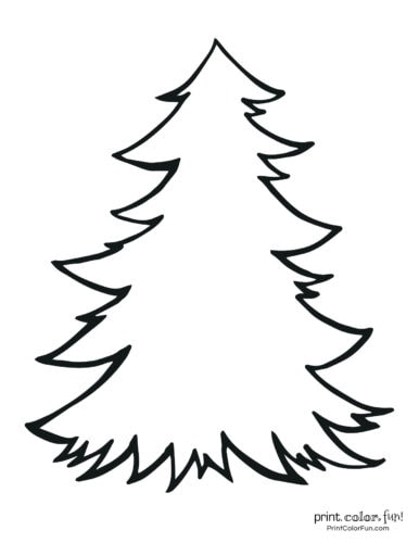 Plain blank Christmas tree coloring page