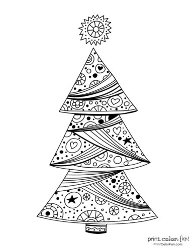 Pretty decorative Christmas tree coloring